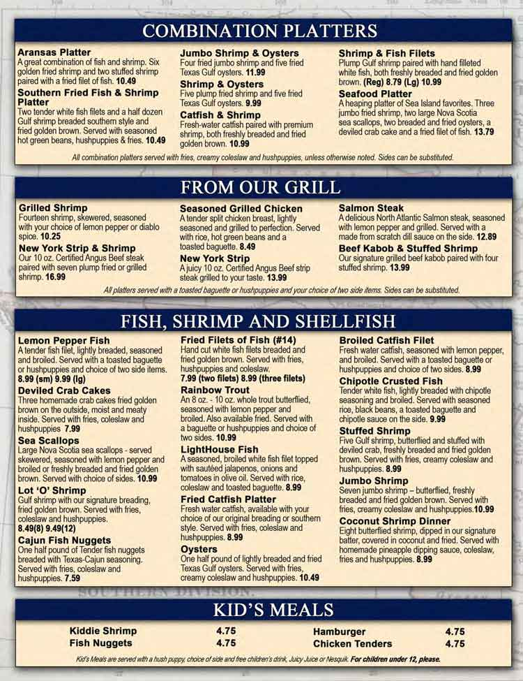 Sea Island Shrimp House Restaurant Menu