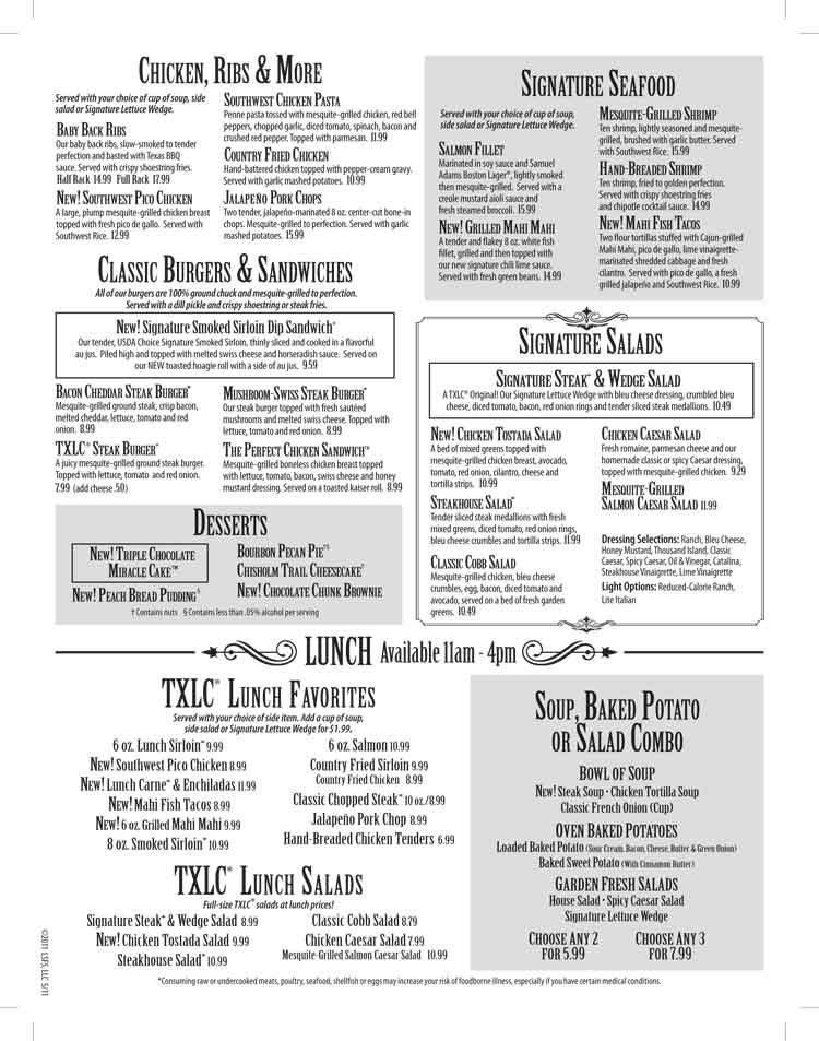 Texas Land Amp Cattle Steakhouse Restaurant Menu On The