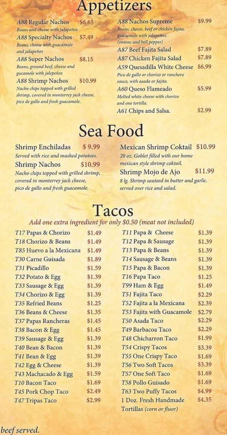 River Oaks Texas >> Tink A Tako Restaurant Menu San Antonio