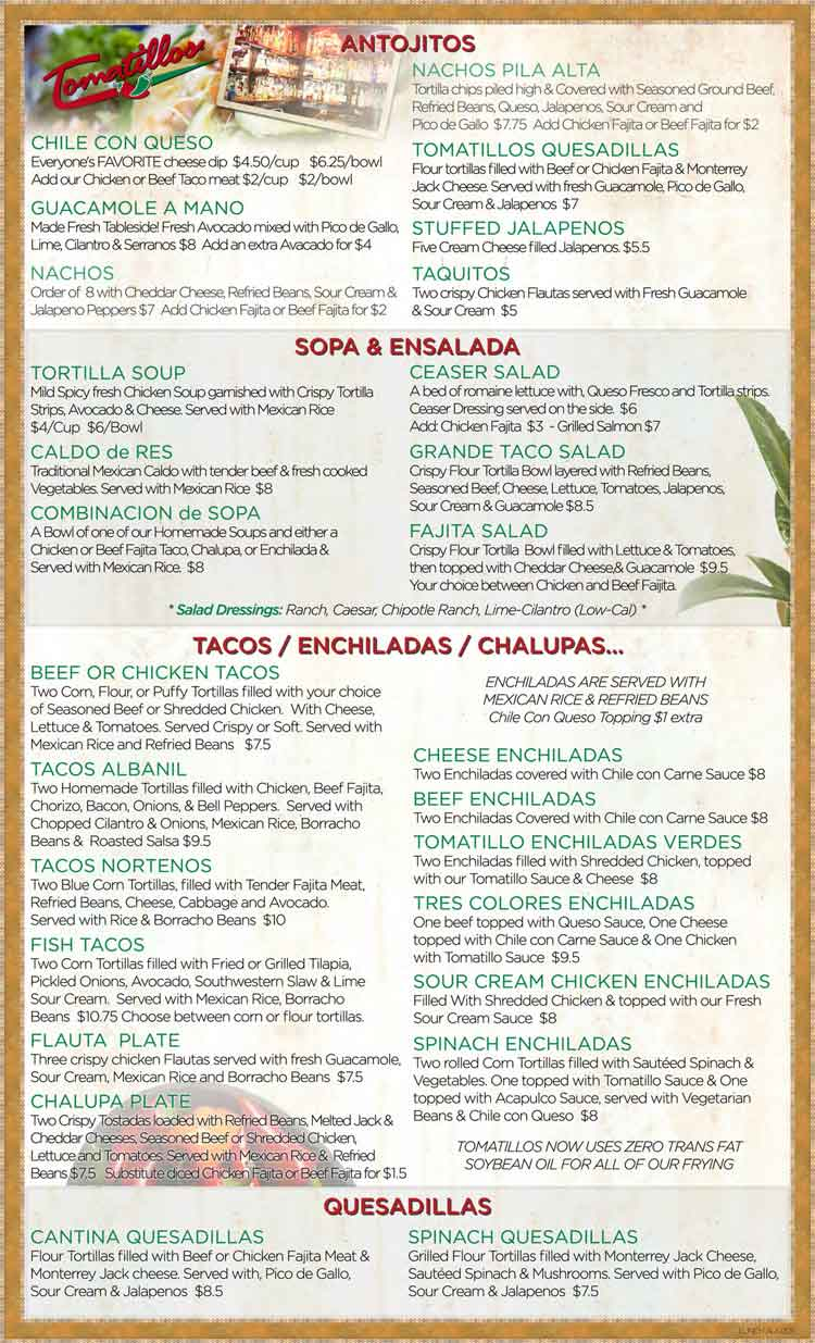 Restaurant Menu in San Antonio