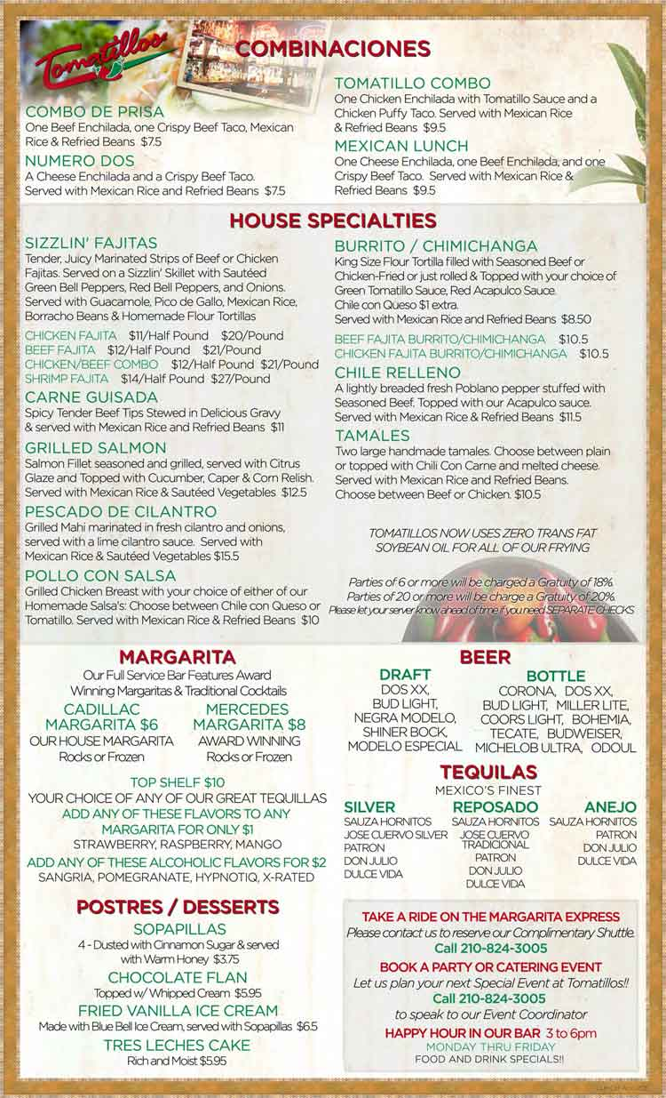 Tomatillos Restaurant Menu In San Antonio